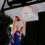 Cole Aldrich (45) goes up for a dunk during the Elite 24 Hoops Classic game on September 1, 2006 held at Rucker Park in New York, New York.  The game brought together the top 24 high school basketball players in the country regardless of class or sneaker affiliation.