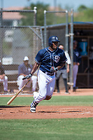 San Diego Padres center fielder Franchy Cordero (22) starts down the first base line during a rehab assignment in an Instructional League game against the Milwaukee Brewers at Peoria Sports Complex on September 21, 2018 in Peoria, Arizona. (Zachary Lucy/Four Seam Images)