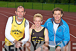 Master athletes l-r: Kevin Griffin Iveragh, Arthur Fitzgerald Farranfore/Maine Valley and Colm Rafferty Gneeveguilla at the Senior County athletics championships in Castleisland on Friday evening..