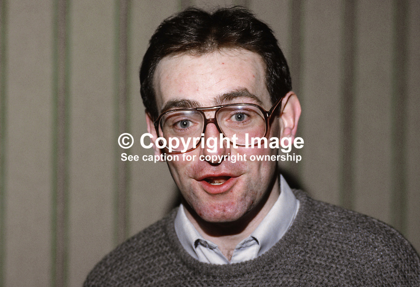 Mark Durkan, personal assistant to John Hume, leader, SDLP, N Ireland, 19850008MD.<br /> <br /> Copyright Image from Victor Patterson,<br /> 54 Dorchester Park, <br /> Belfast, UK, BT9 <br /> <br /> t1: +44 28 9066 1296 (from Rep of Ireland 048 90661296)<br /> t2: +44 28 9002 2446 (from Rep of Ireland 048 9002 2446)<br /> <br /> m: +44 7802 353836<br /> <br /> e: victorpatterson@me.com<br /> www.victorpatterson.com<br /> <br /> Please see my Terms and Conditions of Use at www.victorpatterson.com. It is IMPORTANT that you familiarise yourself with them.<br /> <br /> Images used on the Internet must be visibly watermarked i.e. &copy; Victor Patterson<br /> within the body of the image and copyright metadata must not be deleted. Images <br /> used on the Internet have a size restriction of 4kbs and will be chargeable at current<br />  NUJ rates unless agreed otherwise.<br /> <br /> This image is only available for the use of the download recipient i.e. television station, newspaper, magazine, book publisher, etc, and must not be passed on to any third <br /> party. It is also downloaded on condition that each and every usage is notified within 7 days to victorpatterson@me.com<br /> <br /> The right of Victor Patterson to be identified as the author is asserted in accordance with The Copyright Designs And Patents Act (1988). All moral rights are asserted.