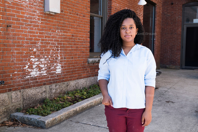 Carlha Toussaint, 24, of Brockton, Massachusetts, is a community organizer with the Coalition for Social Justice in Brockton, Massachusetts, USA. She is seen here in Jamaica Plain, Boston, Massachusetts.