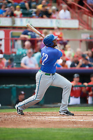 Hartford Yard Goats designated hitter Correlle Prime (22) follows through on a swing during a game against the Erie SeaWolves on August 6, 2017 at UPMC Park in Erie, Pennsylvania.  Erie defeated Hartford 9-5.  (Mike Janes/Four Seam Images)