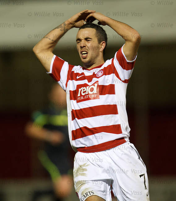 Hamilton striker Dougie Imrie reacts after mising a last gasp chance to win the game