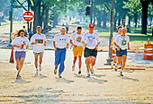 United States President Bill Clinton, third right, goes jogging with Chief Judge Stephen Breyer, of the US Court of Appeals for the First Circuit, third left, along the Mall in Washington, DC on May 16, 1994.  The President nominated Judge Breyer to be Associate Justice of the Supreme Court to replace Justice Harry Blackmun, who is retiring.  Judge Breyer's daughter is at the far left.<br /> Credit: Jeff Markowitz / Pool via CNP
