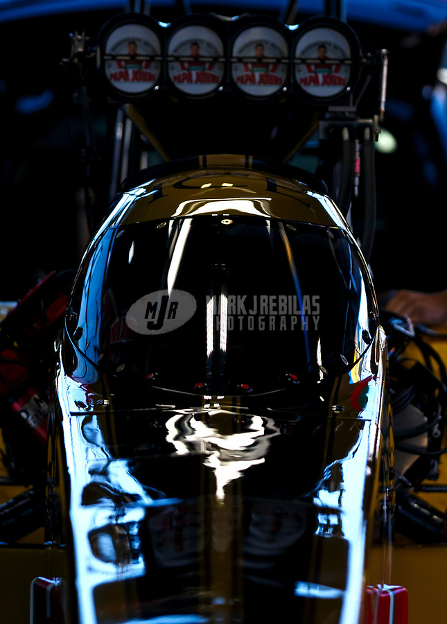 May 7, 2017; Commerce, GA, USA; Detailed view of the cockpit canopy of NHRA top fuel driver Leah Pritchett during the Southern Nationals at Atlanta Dragway. Mandatory Credit: Mark J. Rebilas-USA TODAY Sports