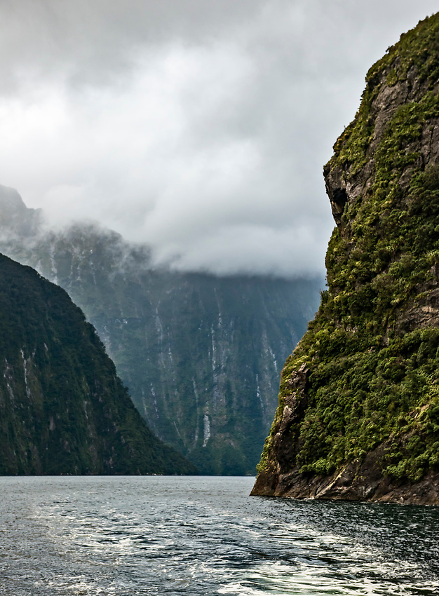 Early morning view from the overnight boat, on Milford Sound in the rain