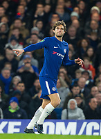 Marcos Alonso of Chelsea during the Carabao Cup semi final 1st leg match between Chelsea and Arsenal at Stamford Bridge, London, England on 10 January 2018. Photo by Andy Rowland.