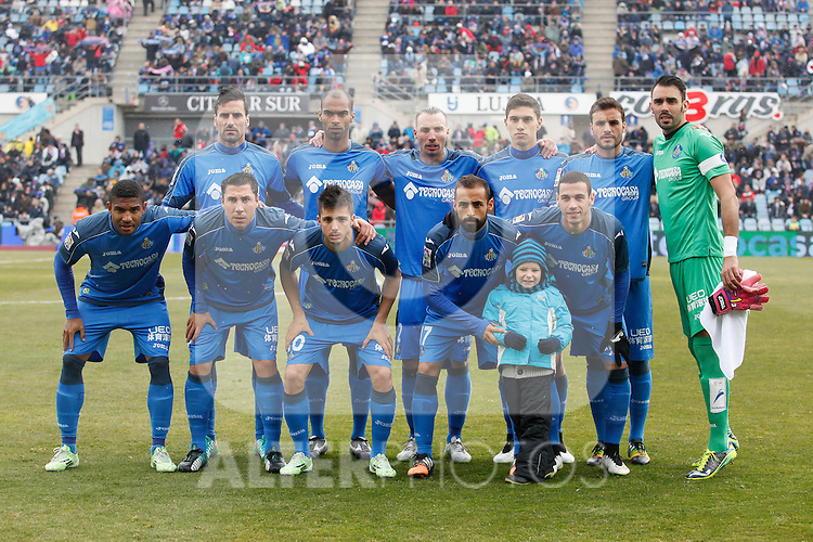 Getafe´s initial players during La Liga match at Coliseum Alfonso Perez stadium  in Getafe, Spain. January 18, 2015. (ALTERPHOTOS/Victor Blanco)