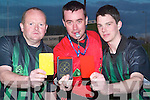 AHH REF!: James O'Sullivan (Firies), Seamus Mulvihill and Jason Browne (St Senans) showing their cards at the referees' training night at Austin Stack Park, Tralee, on Tuesday.   Copyright Kerry's Eye 2008