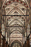 Low angle view of the ceilings of the central nave, Basilica of Saint Anastasia, c.1290-1400, by the Dominican friars Fra' Benvenuto da Imola and Fra' Nicola da Imola, Verona, Italy. It was consecrated in 1471 only. Sant'Anastasia is Italian Gothic in style. It was restored in 1878-81. Picture by Manuel Cohen.