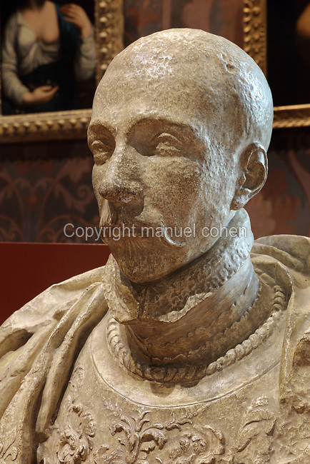 Bust of Henri III, made in 1581 in plaster, after Germain Pilon, 1525-90, in the Salle des Valois, with collections belonging to the Valois, especially Francois I, on the first floor of the Francois I wing, built early 16th century in Italian Renaissance style, at the Chateau Royal de Blois, built 13th - 17th century in Blois in the Loire Valley, Loir-et-Cher, Centre, France. The sculpture was acquired in 1926 by the Musee des Beaux-Arts de la Ville de Blois. The chateau has 564 rooms and 75 staircases and is listed as a historic monument and UNESCO World Heritage Site. Picture by Manuel Cohen