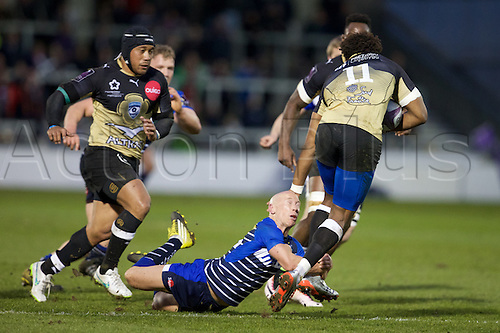 08.04.2016. AJ Bell Stadium, Salford, England. European Champions Cup. Sale versus Montpellier. Sale Sharks scrum-half Peter Stringer tackles Montpellier wing Benjamin Fall.