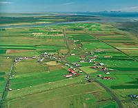 Þykkvibær  Vestmannaeyjar í bakgrunni. Loftmynd..Thykkvibaer  Westman Islands in background, Aerial.