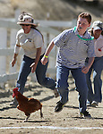 Garrett Recob, 11, competes in the chicken race Friday, Sept. 10, 2010, in the 51st Annual Virginia City International Camel Races in Virginia City, Nev. .Photo by Cathleen Allison