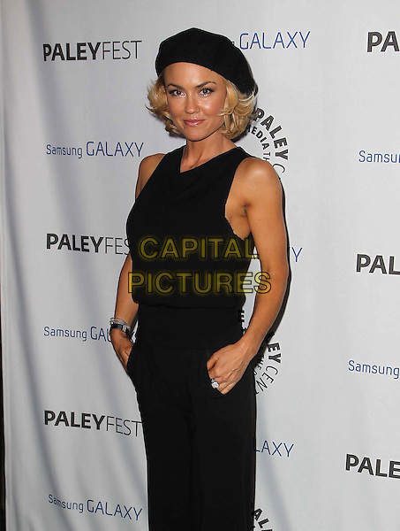 Kelly Carlson.PaleyFest Icon Award 2013 Held At The Paley Center for Media, Beverly Hills, California, USA..February 27th, 2013.half length black sleeveless jumpsuit beret hat hands in pockets .CAP/ADM/KB.©Kevan Brooks/AdMedia/Capital Pictures.