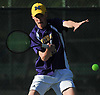 Patrick Maloney of Oyster Bay returns a volley from Matthew Cashin of Cold Spring Harbor (not in picture) during the Nassau County varsity boys tennis individual final at Eisenhower Park in East Meadow on Monday, May 21, 2018. The University of Michigan-bound Maloney won the match 6-2, 6-1 to claim the county crown.
