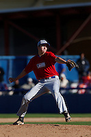 Morgan Earman of Desert Christian Academy in Bermuda Dunes, California participates in the Southern California scouts game for high school seniors at the Urban Youth Academy on February 9, 2013 in Compton, California. (Larry Goren/Four Seam Images)