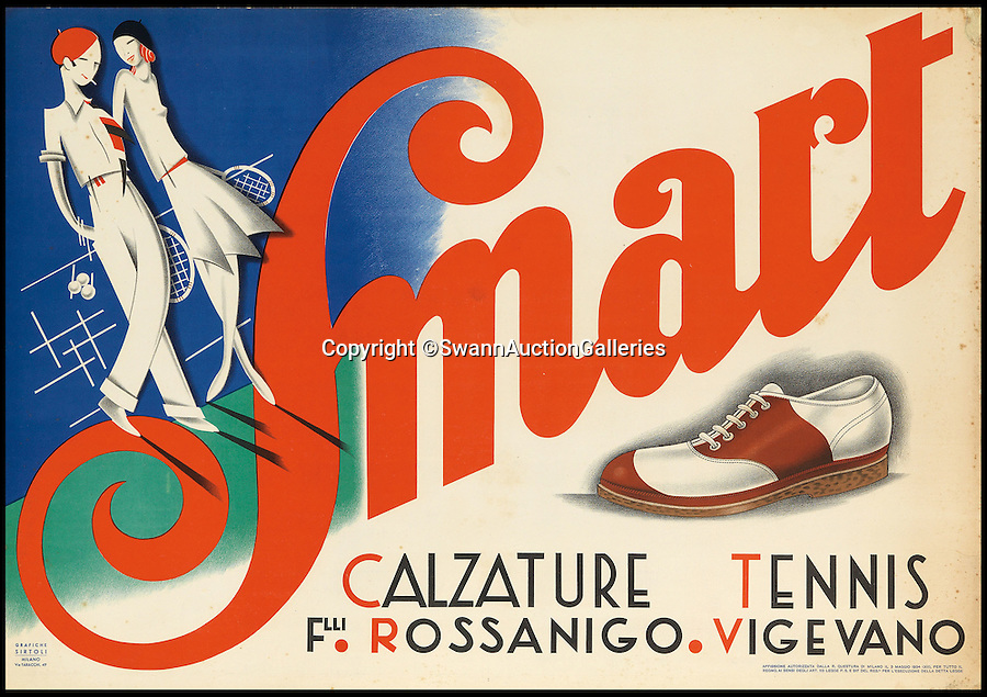BNPS.co.uk (01202 558833)<br /> Pic: SwannAuctionGalleries/BNPS<br /> <br /> ***Please Use Full Byline***<br /> <br /> Smart / Calzature Tennis (1934), designer unknown, estimated at $1,000 - $1,500. <br /> <br /> <br /> The world's largest collection of vintage tennis posters spanning a century of the sport has emerged for sale for a staggering 100,000 pounds.<br /> <br /> The posters date from the late 19th century and advertise everything from famous tennis tournaments to luxury holiday destinations and even cars.<br /> <br /> The earliest poster in the collection comes from 1896 and advertises the Western Lawn Tennis Tournament at the Kenwood Country Club in Chicago.<br /> <br /> The collection was compiled by an Australian poster enthusiast over several decades and is thought to be the largest ever to come to auction.<br /> <br /> The posters will be sold individually for prices ranging between 150 pounds to 12,000 pounds and are collectively tipped to fetch a whopping 100,000 pounds in the Swann Auction Galleries sale.