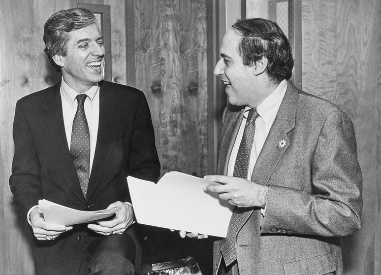 Rep. Dan Glickman, D-Kans., and Rep. Jim Slattery, D-Kans., discuss redistricting on Mar. 20, 1989. (Photo by Andrea Mohin/CQ Roll Call)