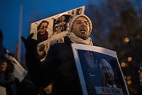 NEW YORK,NY December 16,2016: A man scrams during a vigil to protest against the Syrian government and the killing of innocent people in Washington Square Park, in New York City, December  16,2016. Photo by VIEWpress/Maite H. Mateo