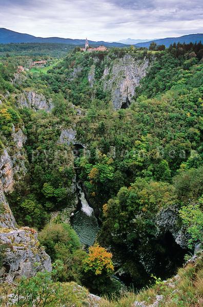 Reka River flows from cave into sinkhole at Skocjan Cave Park in the Karst area, Primorska Region of Slovenia, AGPix_0557.