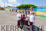 Before they headed off on holidays the children from Moyderwell primary school painted a giant  mural on the wall of their playground. Pictured were: Piotr Szczodrowski, Martin Quilligan, Quin Griffin, Shania Coffey and Patricia Balagova, pictured with Rebekah Wall and Moira Quinlan (Principal).