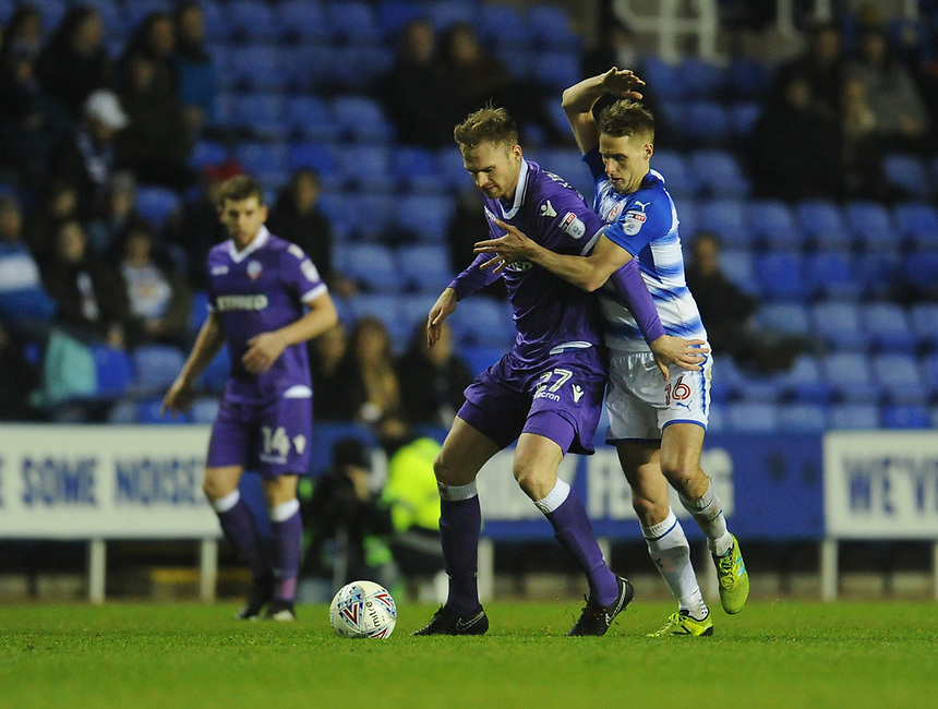Bolton Wanderers' Jan Kirchhoff under pressure from Reading's Dave Edwards<br /> <br /> Photographer Kevin Barnes/CameraSport<br /> <br /> The EFL Sky Bet Championship - Reading v Bolton Wanderers - Tuesday 6th March 2018 - Madejski Stadium - Reading<br /> <br /> World Copyright &copy; 2018 CameraSport. All rights reserved. 43 Linden Ave. Countesthorpe. Leicester. England. LE8 5PG - Tel: +44 (0) 116 277 4147 - admin@camerasport.com - www.camerasport.com