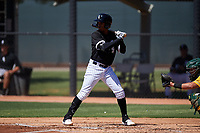AZL White Sox Sidney Pimentel (8) at bat during an Arizona League game against the AZL Athletics Gold on July 4, 2019 at Camelback Ranch in Glendale, Arizona. The AZL White Sox defeated the AZL Athletics Gold 6-2. (Zachary Lucy/Four Seam Images)