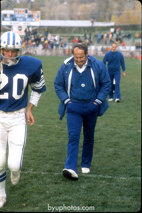 1974 Football<br /> 74 LaVell Edwards<br /> <br /> Coach LaVell Edwards<br /> <br /> Fall 1974<br /> <br /> Photo by Mark Philbrick/BYU<br /> <br /> &copy; BYU PHOTO 2009<br /> All Rights Reserved<br /> photo@byu.edu  (801)422-7322