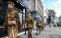Pictured: National Theatre Wales actors remember the WW1 battle of the Somme in full period uniform,Swansea, Wales, UK. Friday, 1st June 2016<br /> Re: Up to 40 members of National Theatre Wales dressed in period military uniforms have been marking the 100th anniversaru of the battle of the Somme in Swansea.<br /> They have been in key locations throughoput the city marching in step and interacting with the public.