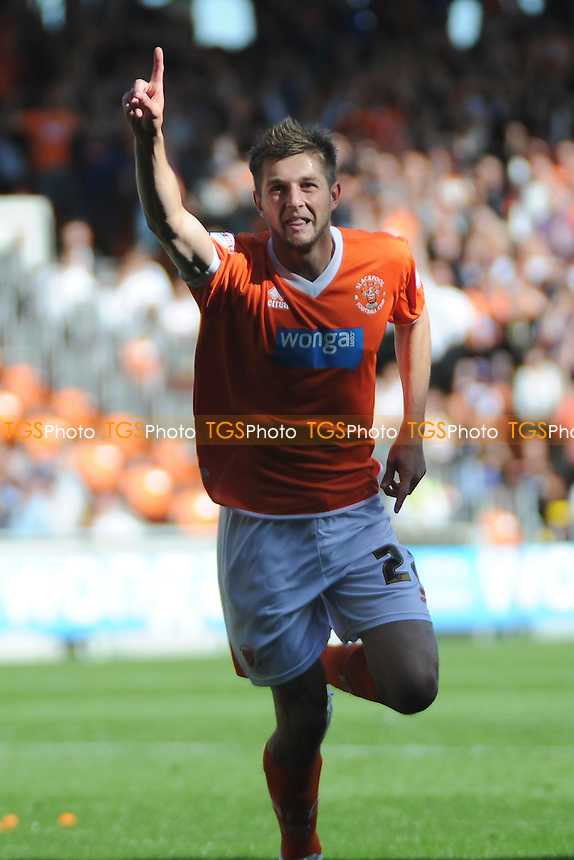 Tom Barkhuizen of Blackpool celebrates scoring the opener - Blackpool vs Reading - Sky Bet Championship Football at Bloomfield Road, Blackpool, Lancashire - 24/08/13 - MANDATORY CREDIT: Greig Bertram/TGSPHOTO - Self billing applies where appropriate - 0845 094 6026 - contact@tgsphoto.co.uk - NO UNPAID USE