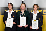 Girls Squash finalists Taylor Flavell, Lana Harrison & Catherine Graham. ASB College Sport Young Sportperson of the Year Awards 2008 held at Eden Park, Auckland, on Thursday November 13th, 2008.