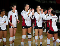 STANFORD, CA - September 2, 2010: Team huddles during a volleyball match against UC Irvine in Stanford, California. Stanford won 3-0.