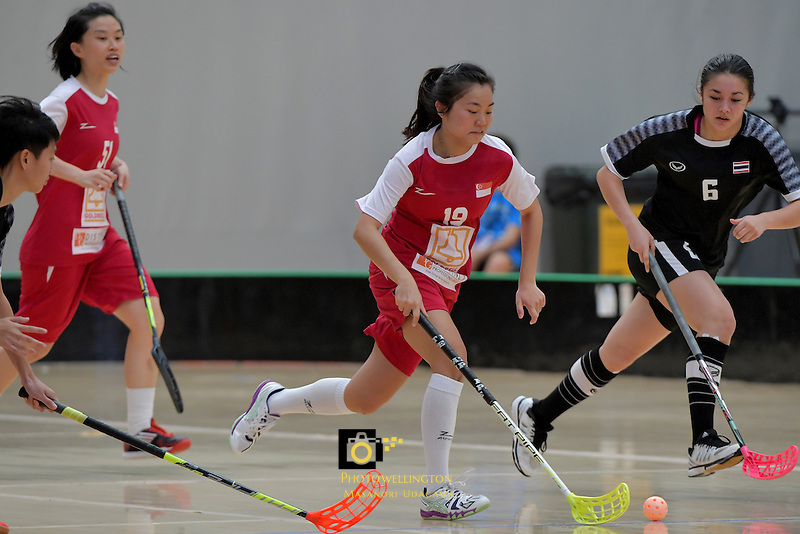 Singapore's Natalia Wee in action during the World Floorball Championships 2017 Qualification for Asia Oceania Region - Singapore v Thailand at ASB Sports Centre , Wellington, New Zealand on Sunday 5 February 2017.<br /> Photo by Masanori Udagawa<br /> www.photowellington.photoshelter.com.