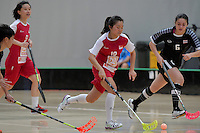 Singapore&rsquo;s Natalia Wee in action during the World Floorball Championships 2017 Qualification for Asia Oceania Region - Singapore v Thailand at ASB Sports Centre , Wellington, New Zealand on Sunday 5 February 2017.<br /> Photo by Masanori Udagawa<br /> www.photowellington.photoshelter.com.
