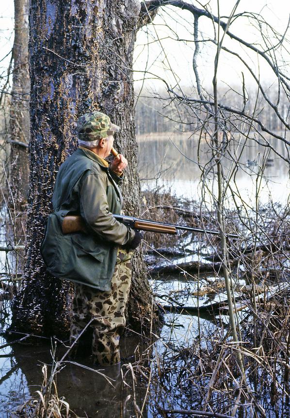 Green timber duck hunter calling near Stuttgart, Arkansas