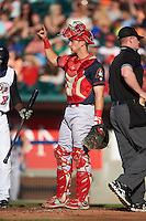 Peoria Chiefs catcher Steve Bean (8) signals two outs during a game against the Lansing Lugnuts on June 6, 2015 at Cooley Law School Stadium in Lansing, Michigan.  Lansing defeated Peoria 6-2.  (Mike Janes/Four Seam Images)
