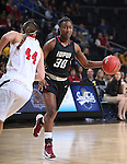 SIOUX FALLS, SD - MARCH 9: Akilah Sims #30 of IUPUI dribbles against defender Lisa Loeffler #44 of USD in the first half of their semi-final round Summit League Championship Tournament game Monday afternoon at the Denny Sanford Premier Center in Sioux Falls, SD. (Photo by Dick Carlson/Inertia)