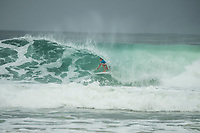 COOLANGATTA, Queensland/AUS (Sunday, March 19, 2017) Lakey Peterson (USA) and coach Mike Parsons (USA)- The Quiksilver and Roxy Pro Gold Coast was called ON today in three - to - four foot (1 m) surf at Snapper Rocks. The event got underway at 7:05 a.m. with the Men's Quarterfinals followed by the Women's Quarterfinals and ran through to the finals with Owen Wright (AUS) posting a victory with his first event back from injury and Stephanie Gilmore (AUS) adding another Roxy Pro title to her name. Wright defeated defending event champion Matt Wilkinson(AUS) in an all goofy-foot final while Lakey Peterson (USA) was runner up to Gilmore.   Photo: joliphotos.com