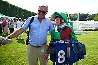 A happy jockey John Egan right after riding Nyaleti to win  The Toby Balding Memorial Novice Stakes (Plus 10), during Father's Day Racing at Salisbury Racecourse on 18th June 2017