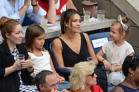 FLUSHING NY- SEPTEMBER 10: Jessica Alba, Honor Marie Warren and Haven Garner Warren are sighted watching Angelique Kerber reacts after winning the finals in her match with Karolina Pliskova during the womens finals on Arthur Ashe Stadium at the USTA Billie Jean King National Tennis Center on September 10, 2016 in Flushing Queens. Photo by MPI04/MediaPunch