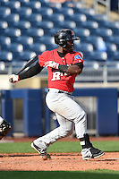Frisco Rough Riders Odubel Herrera (16) at bat during the first game of a doubleheader against the Tulsa Drillers on May 29, 2014 at ONEOK Field in Tulsa, Oklahoma.  Frisco defeated Tulsa 13-4.  (Mike Janes/Four Seam Images)