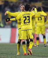FUSSBALL   1. BUNDESLIGA  SAISON 2011/2012   20. Spieltag 1. FC Nuernberg - Borussia Dortmund         03.02.2012 JUBEL Moritz Leitner (li,) mit Shinji Kagawa (Borussia Dortmund)