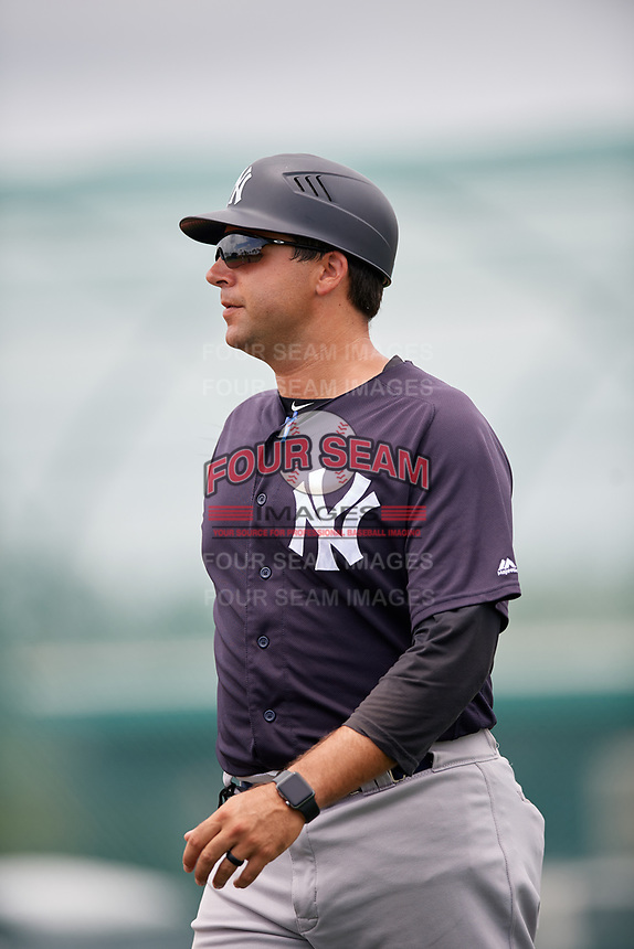 GCL Yankees East defensive coach Kevin Mahoney (47) during the second game of a doubleheader against the GCL Pirates on July 31, 2018 at Pirate City Complex in Bradenton, Florida.  GCL Pirates defeated GCL Yankees East 12-4.  (Mike Janes/Four Seam Images)