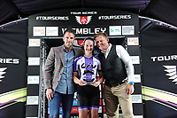 Picture by Simon Wilkinson/SWpix.com - 16/05/2017 - Cycling - Tour Series Round 4, Wembley - Matrix Fitness Grand Prix - Jess Roberts of Liv CC Coaching on the podium with the win at the Matrix Fitness Womens Grand Prix at Wembley.