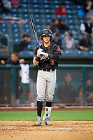 Drew Weeks (6) of the Albuquerque Isotopes bats against the Salt Lake Bees at Smith's Ballpark on April 24, 2019 in Salt Lake City, Utah. The Isotopes defeated the Bees 5-4. (Stephen Smith/Four Seam Images)