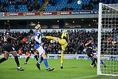 3rd October 2017, Ewood Park, Blackburn, England; Football League Trophy Group stage, Blackburn Rovers versus Bury; Bury's Leonardo Fasan (38) saves a shot from Blacksburns  Ben Gladwin (22)