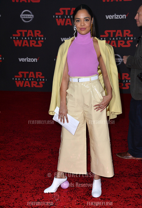 Tessa Thompson at the world premiere for &quot;Star Wars: The Last Jedi&quot; at the Shrine Auditorium. Los Angeles, USA 09 December  2017<br /> Picture: Paul Smith/Featureflash/SilverHub 0208 004 5359 sales@silverhubmedia.com