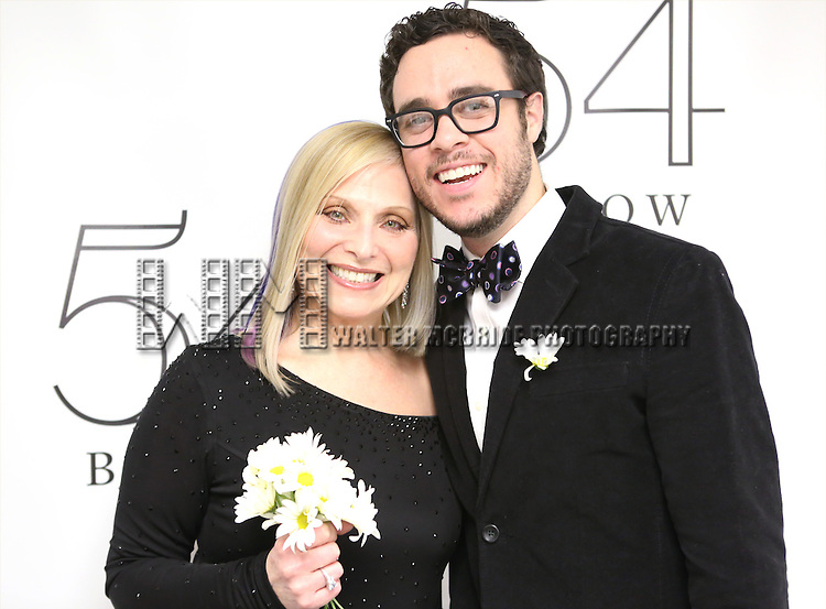 """Roslyn Kind and James Christian Jarrott backstage before performing her new show """"It's Been a While""""  at 54 Below on April 6, 2014 in New York City."""
