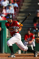 April 26 2009: Edilio Colina of the High Desert Mavericks during game against the San Jose Giants at Mavericks Stadium in Adelanto,CA.  Photo by Larry Goren/Four Seam Images